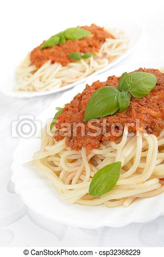 Spaghetti Ragu Alla Bolognese Sauce On White Close Up Spaghetti