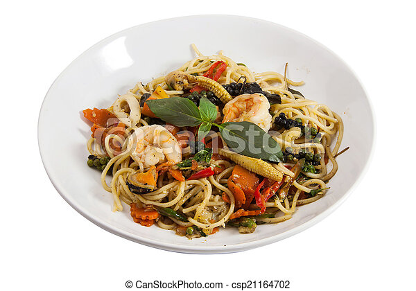 Spaghetti sauce drunken shrimp 2 - csp21164702