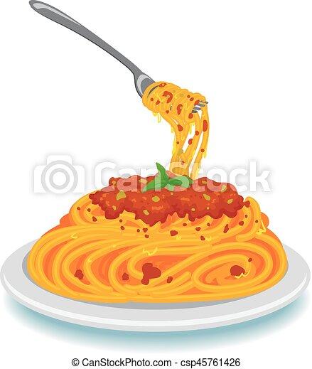 vector illustration of spaghetti with fork on plate vector rh canstockphoto com spaghetti bolognaise clipart clipart spaghetti