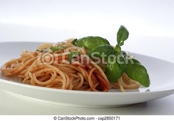spaghetti with organic home made tomato sauce - csp2850171