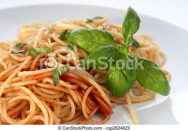 spaghetti with organic home made tomato sauce - csp2624623