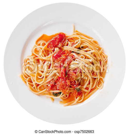 spaghetti with spicy tomato sauce on white plate - csp7502663