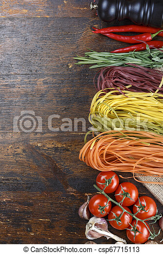 spaghetti with vegetables on the table - csp67715113