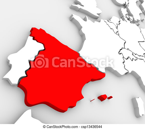 Map Of Spain And United Kingdom.Spain Abstract 3d Map Country Nation In Europe