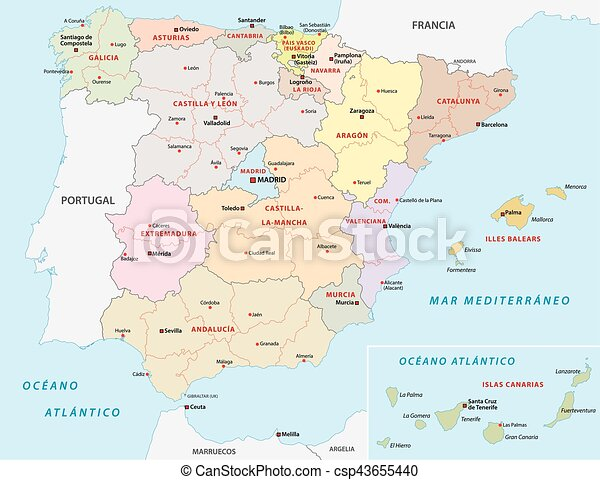 Map Of Spain Drawing.Spain Administrative Map Spain Administrative And Political Map