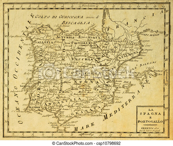Map Of Spain Old.Spain And Portugal Old Map