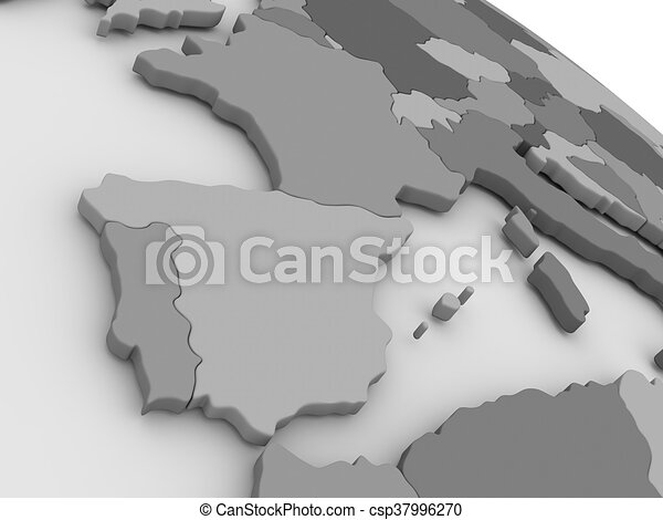 3d Map Of Spain.Spain And Portugal On Grey 3d Map