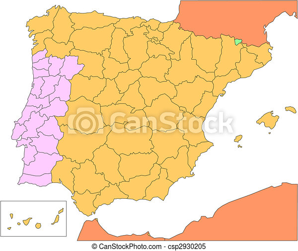 Spain And Portugal With Administrative Districts And Clipart - Portugal map districts