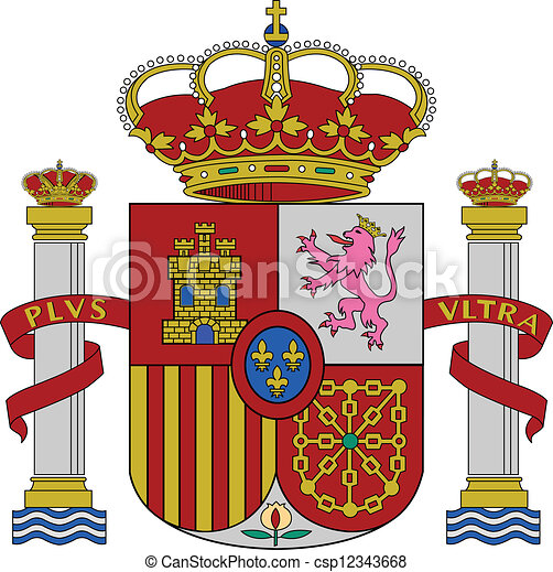 spain coat of arms spain flag coat of arms vector illustration rh canstockphoto com spain flag emblem coloring page spain flag logo png