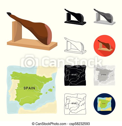 Spain country cartoon, black, flat, monochrome, outline icons in set collection for design. Travel and attractions vector symbol stock web illustration. - csp58232593