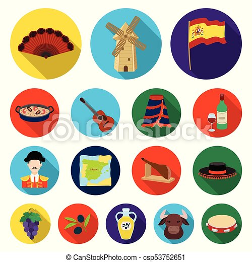 Spain country flat icons in set collection for design ...