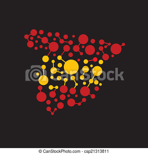 Spain dot and lines map image logo - csp21313811