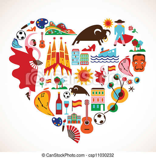 Spain Love - heart with set of vector icons - csp11030232