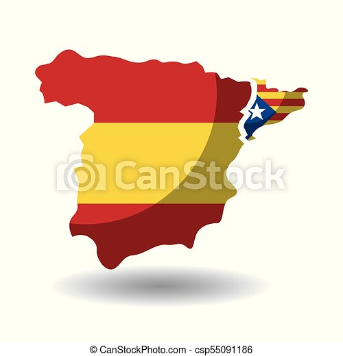 Map Of Spain Catalonia.Spain Map And Catalonia Flag Independence