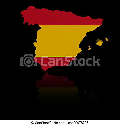 Spain Map Flag.Spain Map Flag With Reflection Illustration