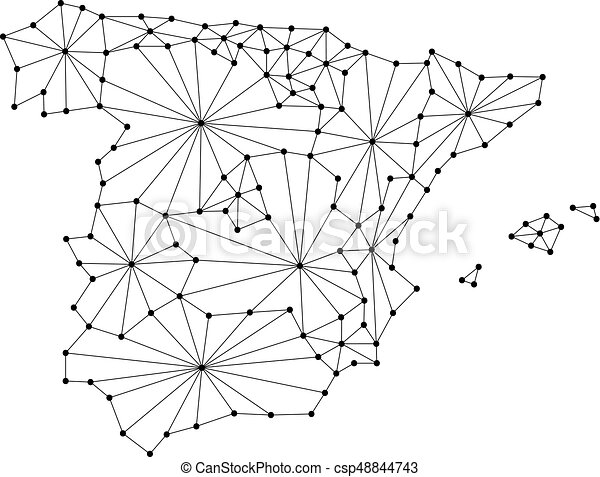 Spain map of polygonal mosaic lines network, rays and dots vector illustration. - csp48844743