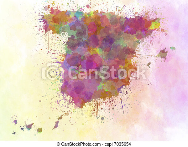 Map Of Spain Only.Spain Map Watercolor Style Splash