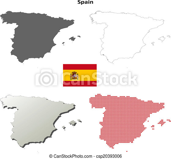 Map Of Spain Blank.Spain Outline Map Set
