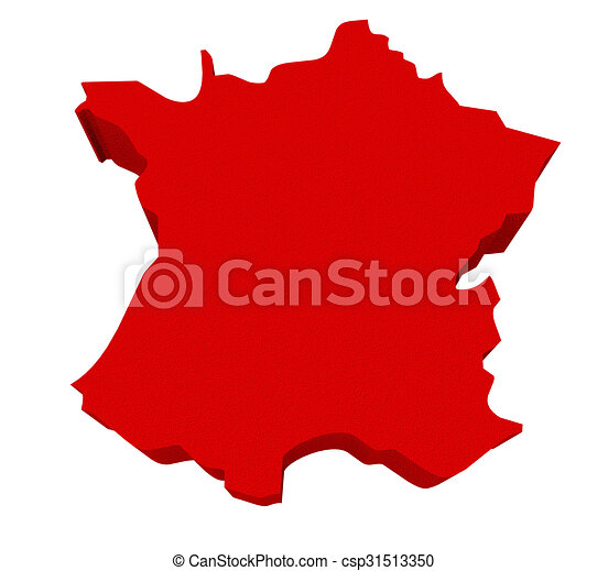 Spain Red 3d Europe Map Isolated - csp31513350