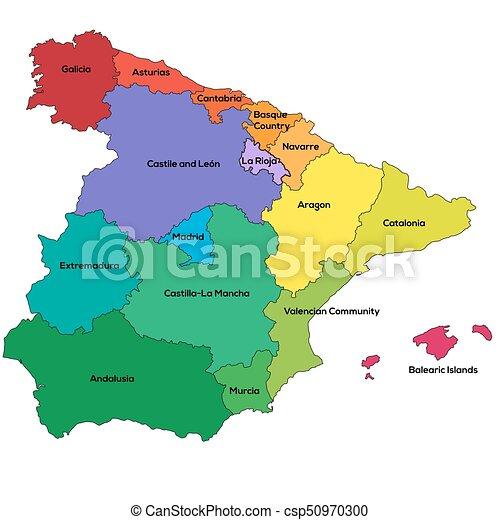 Spain regions. Vector illustration