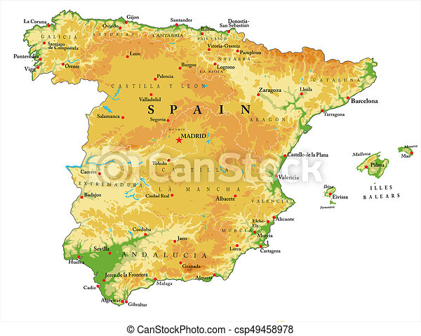Map Of Spain Showing Regions.Spain Relief Map