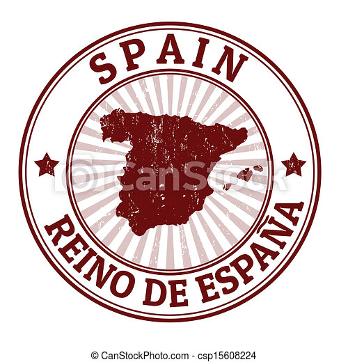 Spain Stamp Grunge Rubber With The Name And Map Of