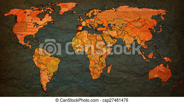 Spain territory on world map spain flag on old vintage stock spain territory on world map csp27481476 gumiabroncs Images