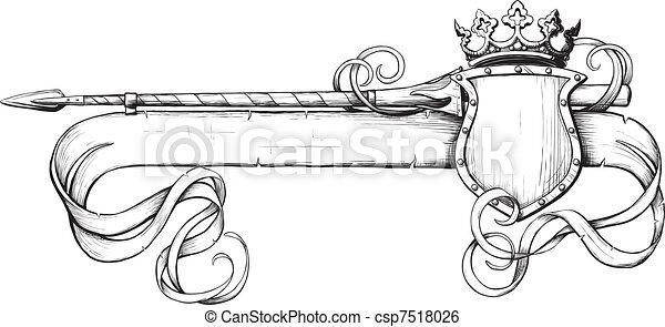 spandoek, kroon, speer - csp7518026