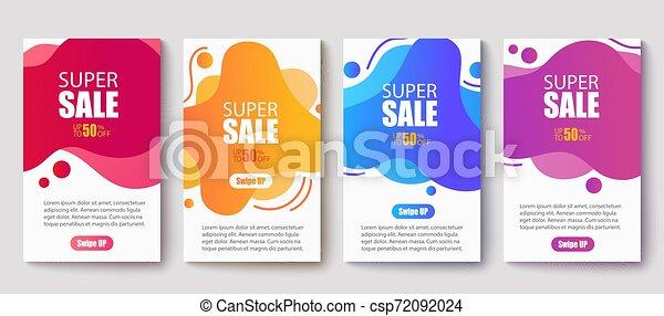spandoek, mal, vloeistof, beweeglijk, moderne, illustratie, banners., verkoop, dynamisch, vector, design. - csp72092024