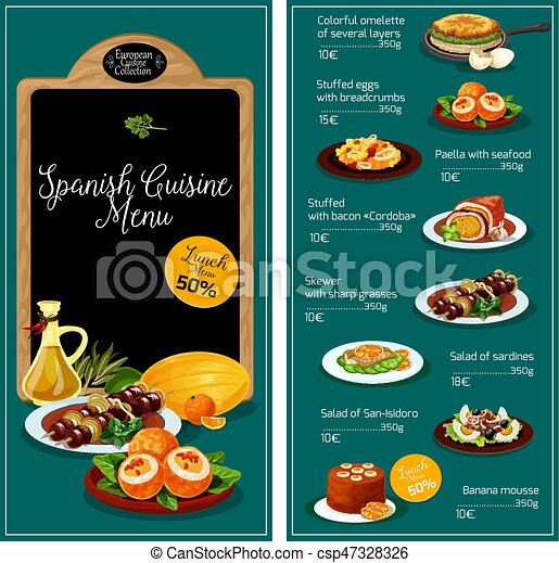 Spanische küche, vektor, menükarte, gasthaus. Knabberzeug, lieb ...