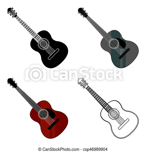 Spanish acoustic guitar icon in cartoon style isolated on ...