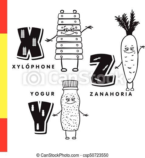 Spanish Alphabet Xylophone Carrots Yogurt Vector Letters And Characters Spanish Alphabet Xylophone Carrots Yogurt Canstock También se pueden obtener en los cultivos de las aldeas. can stock photo