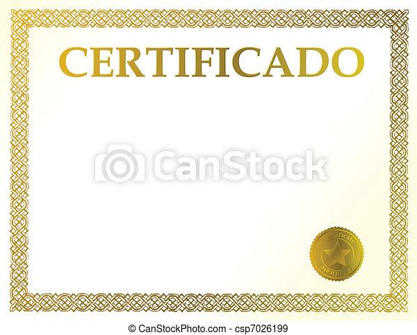 Spanish blank certificate - csp7026199