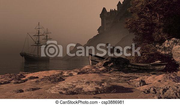 Spanish Brig And Castle - csp3886981