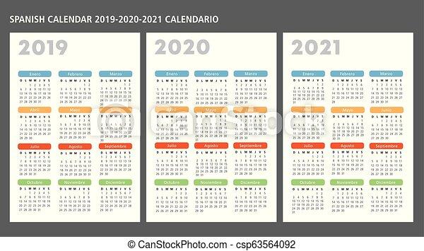 Spanish calendar 2019-2020-2021 vector template text is ...