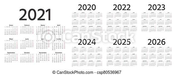 Spanish Calendar 2022.Spanish Calendar 2021 2022 2023 2024 2025 2026 2020 Years Vector Illustration Simple Template Spanish Calendar 2021 Canstock