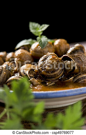 spanish caracoles en salsa, cooked snails in sauce - csp49769077