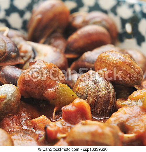 spanish cooked snails in sauce - csp10339630