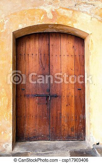 spanish door - csp17903406 & Charming old wooden spanish door with a lock stock photography ...