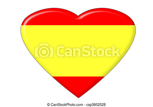 Spanish Flag Heart A Heart In The Shape Of The Spanish Flag Canstock