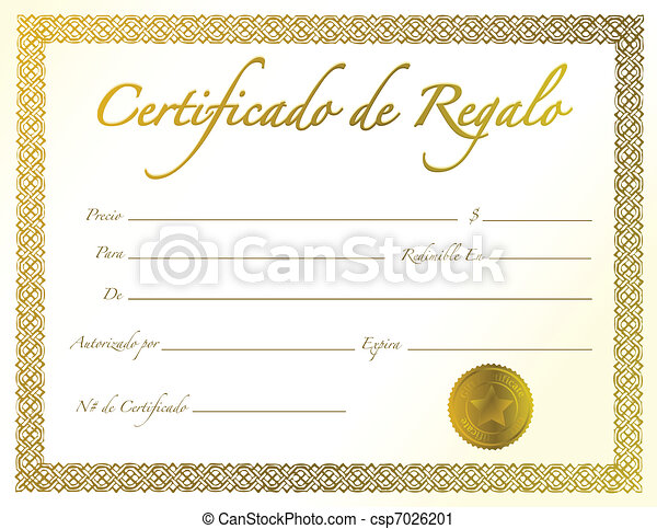 Spanish gold gift certificate with golden seal and design spanish gold gift certificate csp7026201 yadclub Gallery
