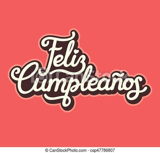 Spanish Happy Birthday Lettering Design Feliz Cumpleanos