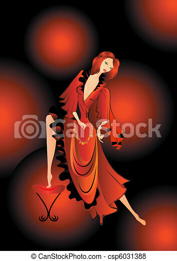 Spanish  In A Red Dress - csp6031388
