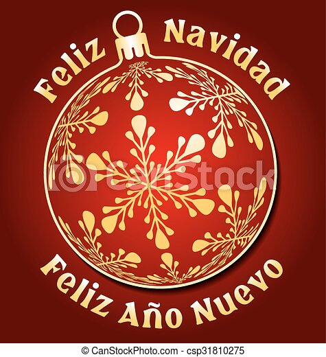 spanish merry christmas and new year background csp31810275