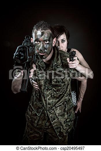 Spanish military and girl - csp20495497