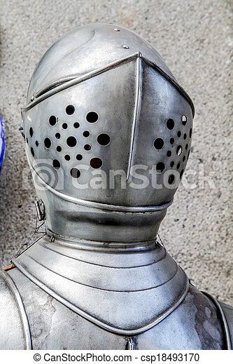 Spanish military armor, helmet and breastplate detail - csp18493170