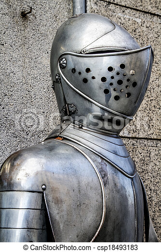 Spanish military armor, helmet and breastplate detail - csp18493183