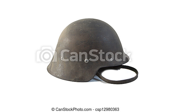 Spanish military helmet isolated on white background - csp12980363