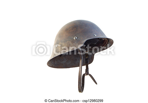 Spanish military helmet isolated on white background - csp12980299