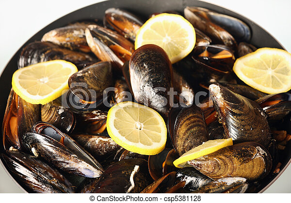 Spanish mussels on a frying pan - csp5381128